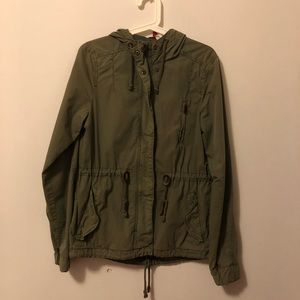 H&M Short Olive Army Green Parka with Hood Jacket